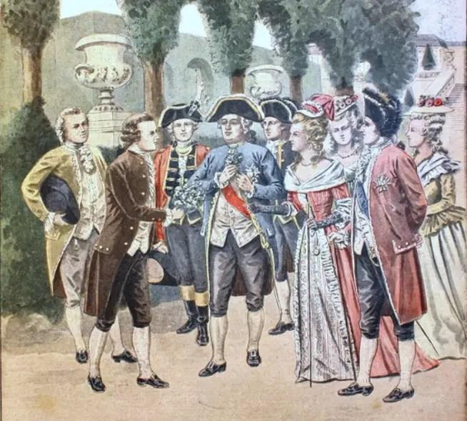 Parmentier offre des fleurs de pommes de terre à Louis XVI et Marie-Antoinette - Gravure dans le supplément
