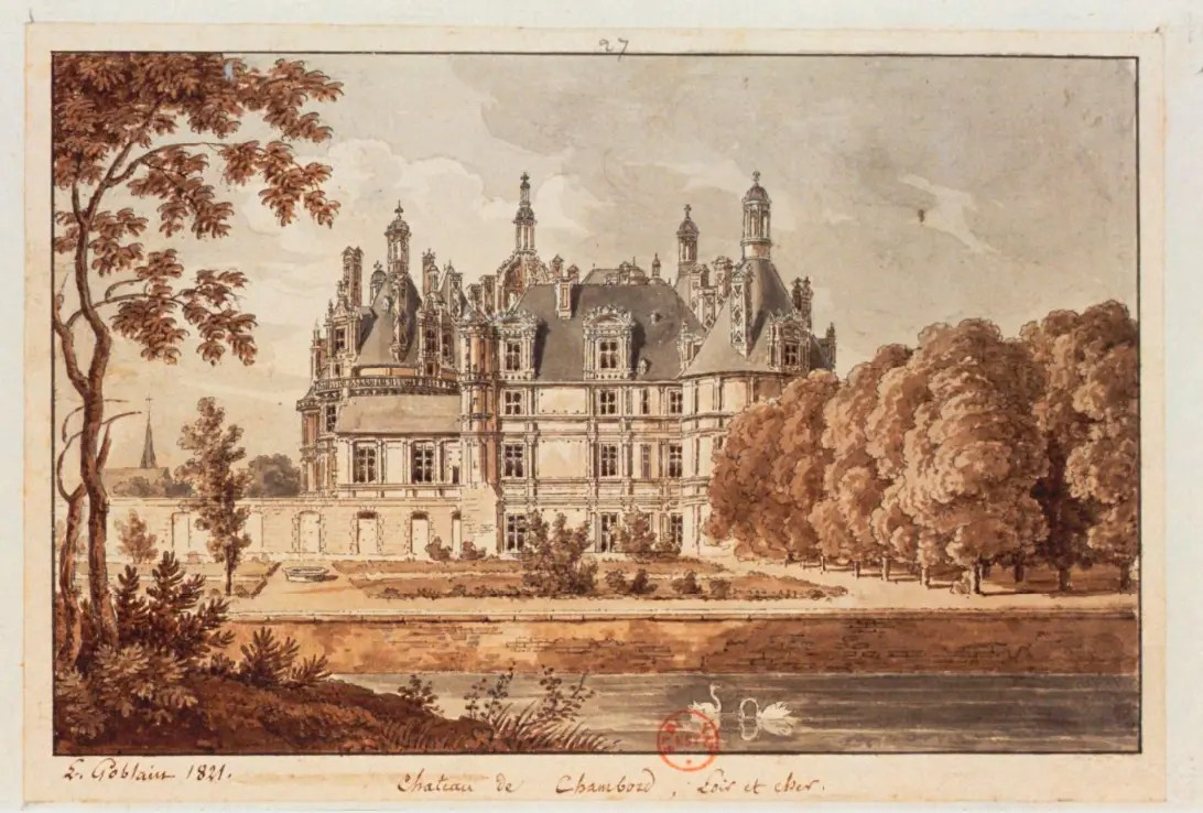 Dessin de Chambord par Antoine-Louis Goblain en 1821 - Gallica BNF