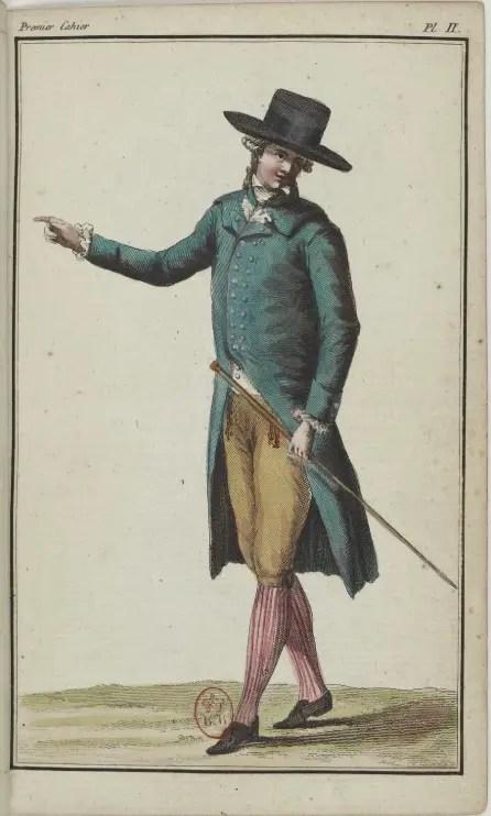 Homme en frac de drap vert et boue de Paris mêlés (Galerie des modes)