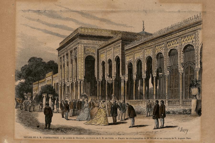 Eugénie au palais de Ghezireh au Caire (croquis d'Auguste Cosson Gallica BNF)