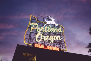 Light up Portland, Oregon Old Town Sign with a leaping stag