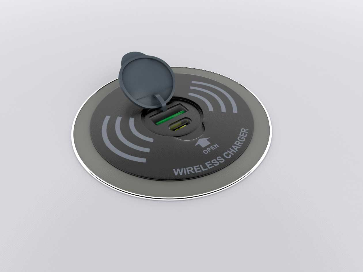round coffee table with wireless charging led rim 3x2 ft