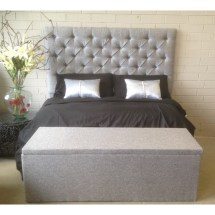 King Size Upholstered High Rise Bed Head Grey - Plumindustries