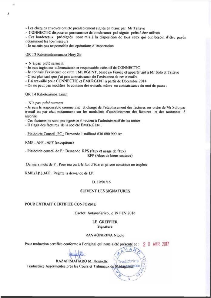 """RANARISON Tsilavo jugement du 15 decembre 2015 avec l extrait plumitif VF et VM Page 9 - RANARISON Tsilavo affirme lors de l'audience du 8 décembre 2015 """"Tous nos produits à l'arrivée sont tous accompagnés de déclaration en douane""""  comme l'atteste les déclarations de la douane française"""