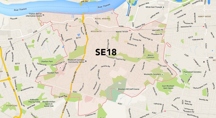 london se18 map woolwich plumstead shooters hill