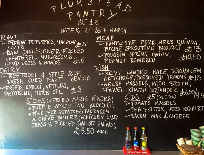 The Plumstead Pantry sample menu
