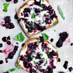 Smashed Blackberry Basil and Goat Cheese Toasts