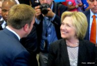 Hillary Clinton meets John Patrick Carney following her remarks Monday in Columbus.