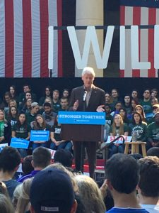 Former President Bill Clinton during a campaign stop at Ohio University in Athens on behalf of Democratic Party nominee Hillary Clinton