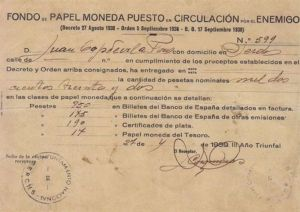 Un dels documents de la confiscació franquista dels diners republicans