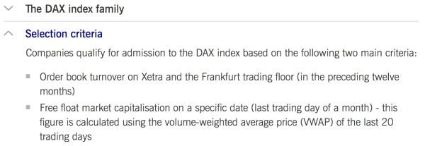 critères sélection indice DAX