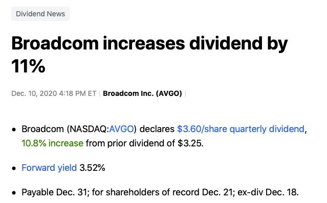 hausse dividende Broadcom
