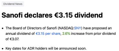 Sanofi dividende 2021