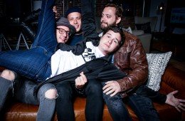 In this March 30, 2016 photo, Mark Falgren, from left, Magnus Larsson, Lukas Graham Forchhammer and Kasper Daugaard of Lukas Graham pose for a portrait in Los Angeles. The band's self-titled, worldwide debut album was released on April 1. (Photo by Rich Fury/Invision/AP)