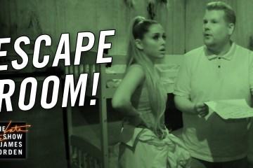 James Corden y Ariana Grande celebraron Halloween visitando un Scape Room. Cusica Plus.