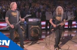 James Hetfield y Kirk Hammett de Metallica, tocaron el himno Nacional de Estados Unidos en la final de la NBA. Cusica Plus.