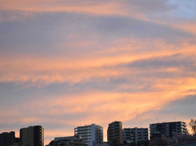 雨上がりの夕空 キレイなオレンジ色がそれに溶けて