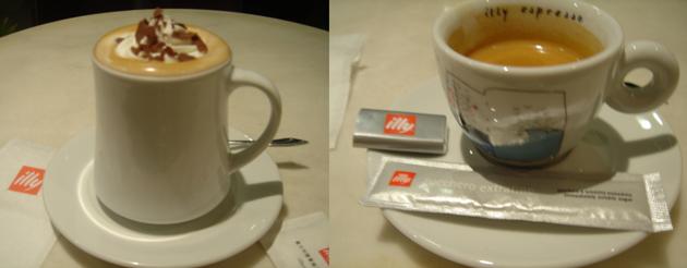 ふたたび、カフェ-illy チョコモカとエスプレッソ
