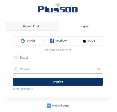 Åpne en Plus500-demo-konto