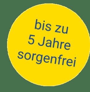 Badge-Hinweis - bis zu 5 Jahre Versicherungsschutz