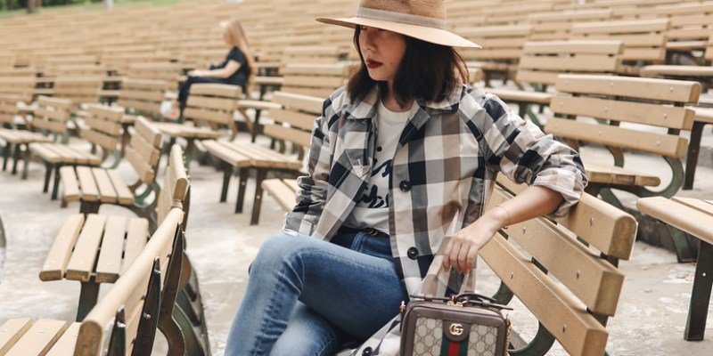 穿搭分享 +Saint Laurent Victoire菱格包 + Kenzo好看包色洋裝