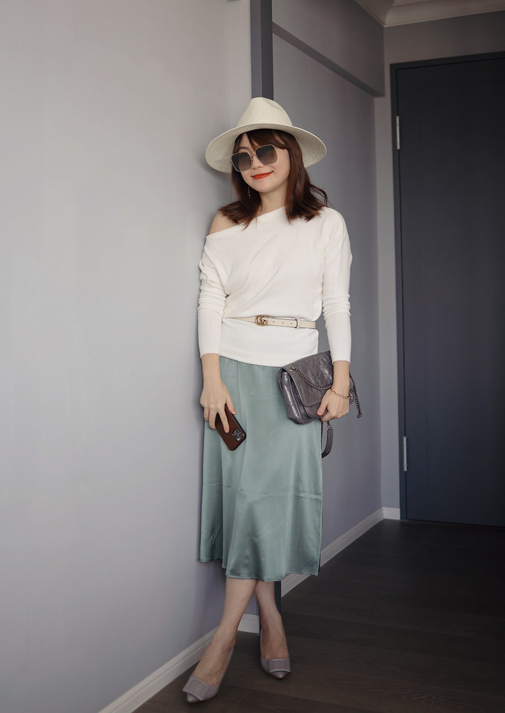 Self-Portrait超美的小魚尾針織洋裝 + NAP Loungewear湖水綠絲裙