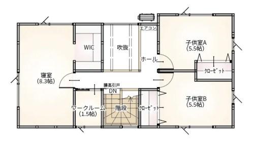 プラスホーム 長岡市 新保 モデルハウスの2階間取り