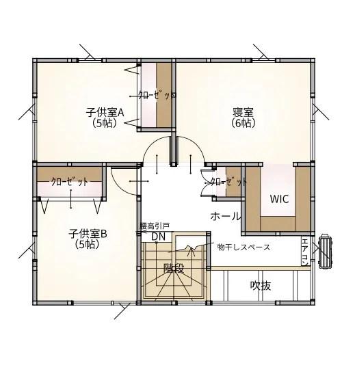 プラスホーム 三条市 モデルハウスの2階間取り