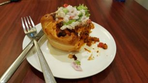 Pizza Bun @ a cafe in pondicherry
