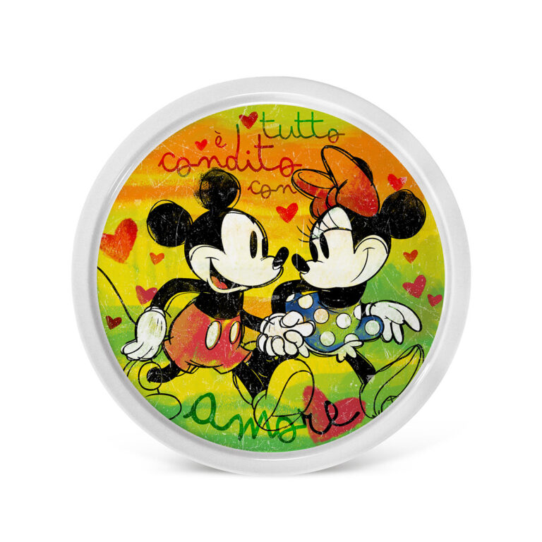 Mickey Pizza Plates Set of 2 Green And Red
