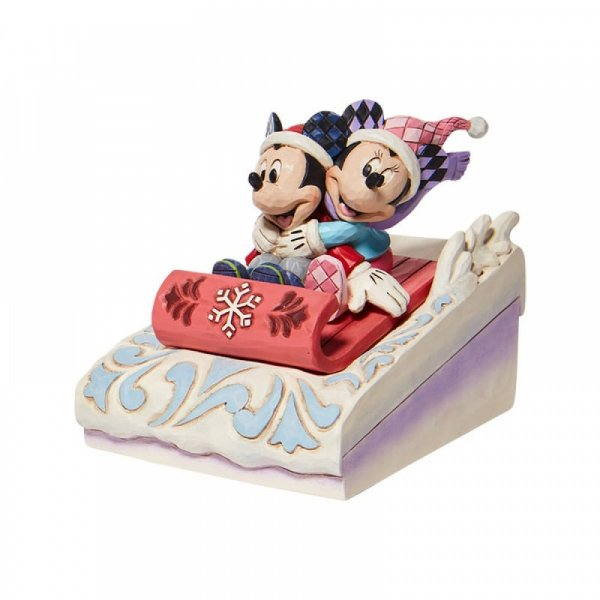 Mickey & Minnie Sledding Figurine - Sledding Sweethearts