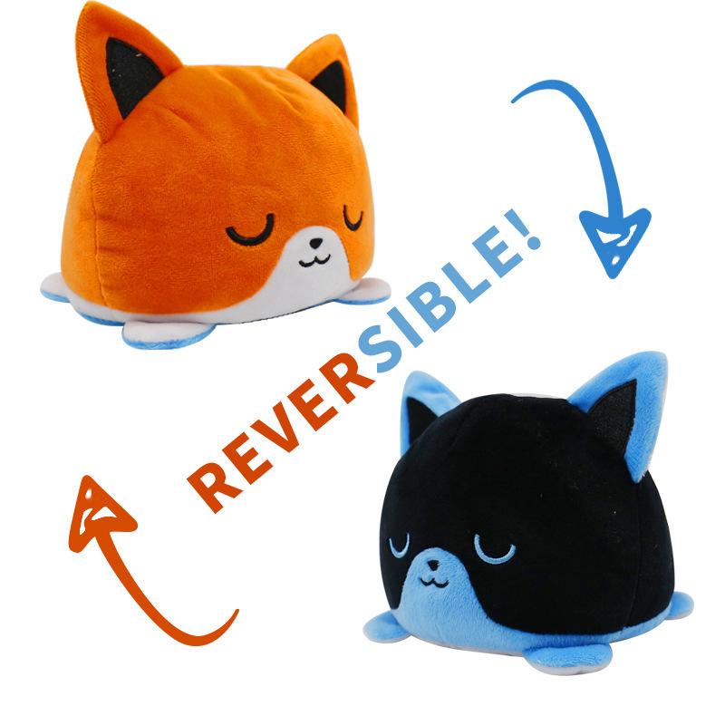 Orange & Black Reversible Cat Plush Toy