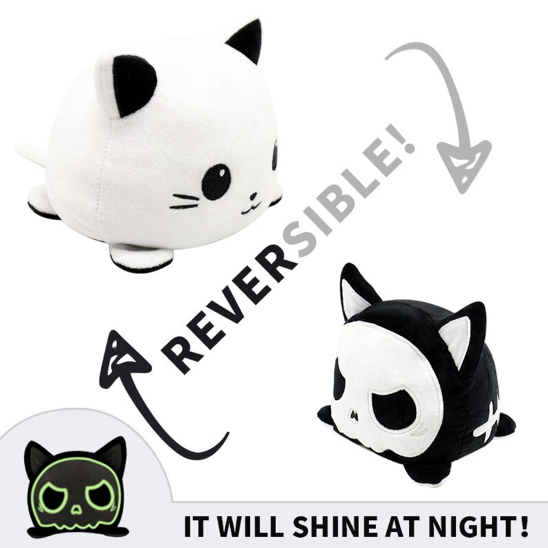 Reversible shining cat plush toy