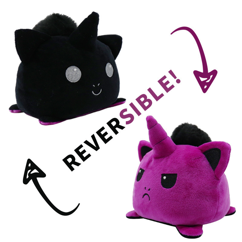 Black & Purple Reversible Mood Unicorn Plush Toy