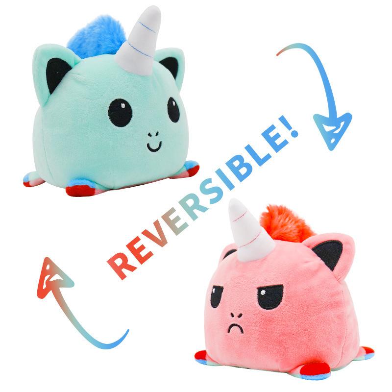 Blue & Pink Reversible Mood Unicorn Plush Toy