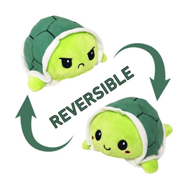 Reversible Mood Changing Green Turtle Plush Toy