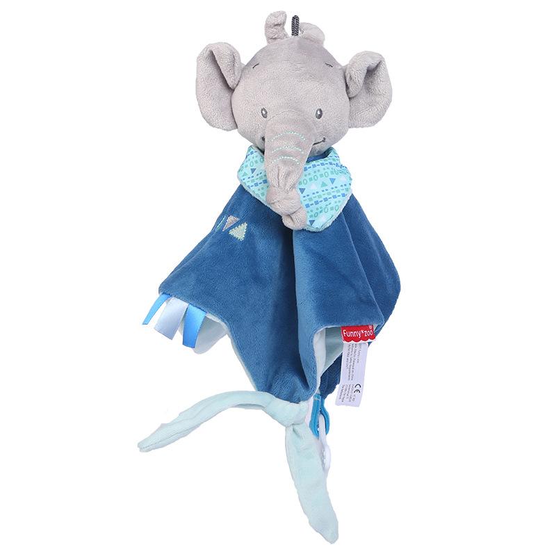Baby Multifunctional Teether Comforting Towel Blue Elephant