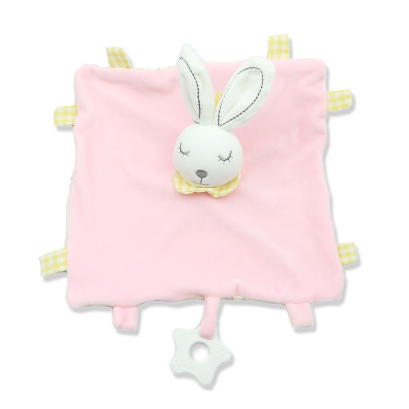 Baby Multifunctional Teether Comforting Towel Pink Rabbit
