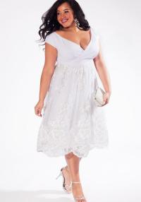 Plus size short white dresses: cocktail, party, short