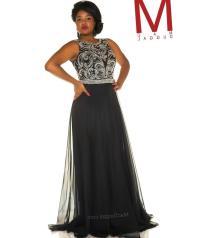 Plus size black prom dress