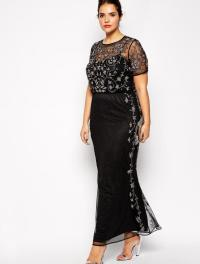 Black plus size prom dress