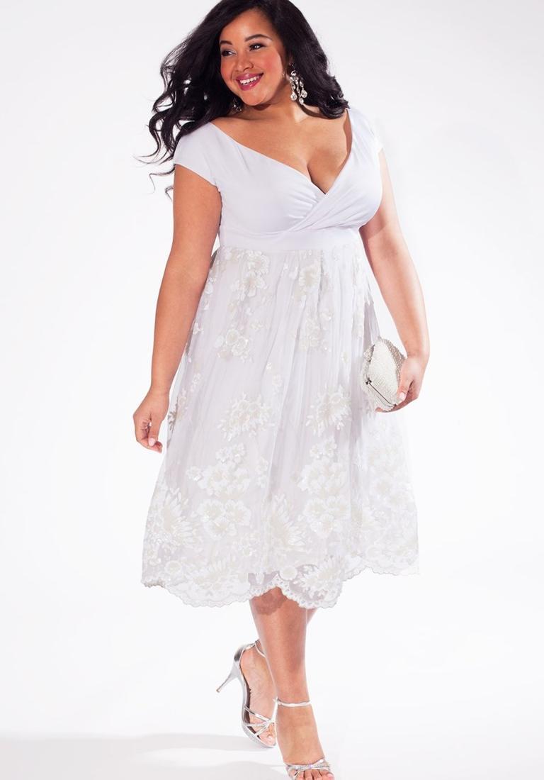 All white dress plus size
