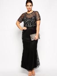 Plus size long black evening dresses