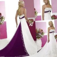 Cheap Purple And White Bridesmaid Dresses