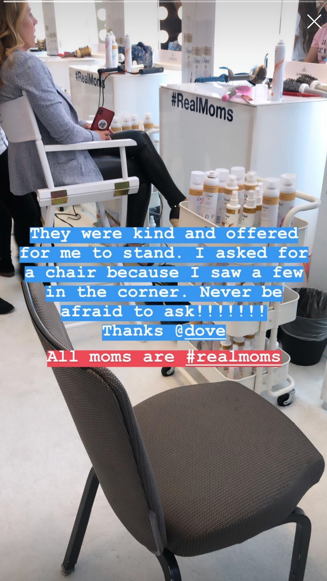 Dove pamper experience with chairs of different sizes