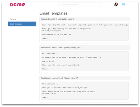 Email Templates screen