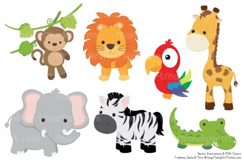 small resolution of 1160x772 animals in the jungle clipart cute baby zoo animals png