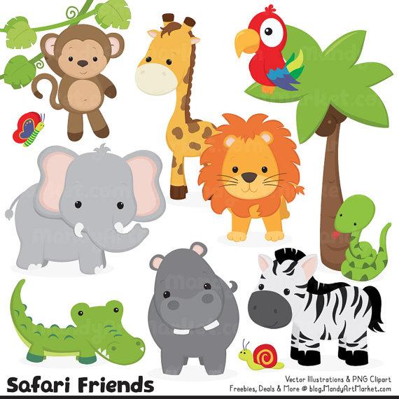 cute jungle animals hd transparent