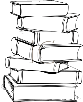 Tall Stack Of Books PNG Black And White Transparent Tall
