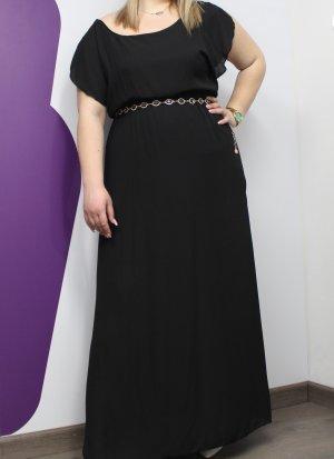 Φόρεμα maxi μουσελίνα μαύρο αρχαιοελληνικού τύπου.